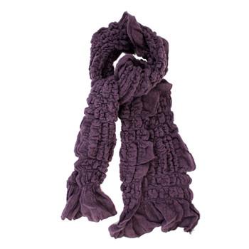 Purple scarf tied.