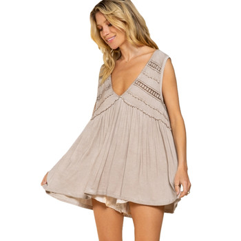 Taupe Flowy Boho Tank Top front view