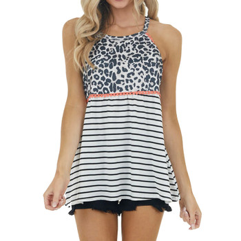 Multiprint Leopard and Striped Tank Top front view