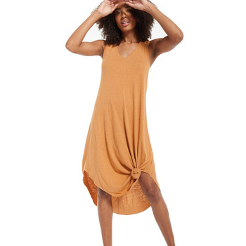 Z Supply Bronze Reverie Midi Dress front view with knot tie