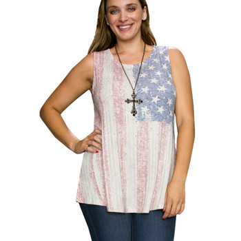 Vocal Apparel USA Flag Taupe Knit Top