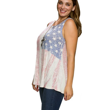 Vocal Apparel USA Flag Taupe Knit Top side view