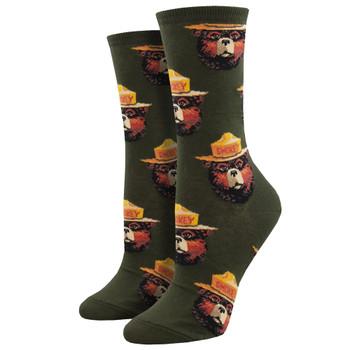Smokey The Bear Face Women's Crew Socks