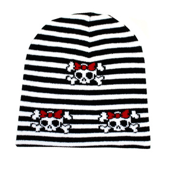 Striped beanie with cute skulls.