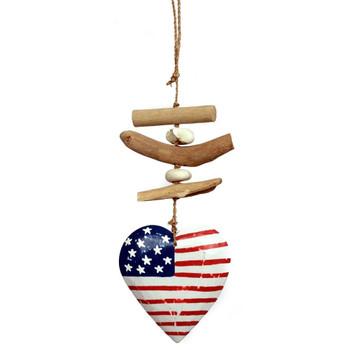 American Flag Heart Wood Hanging Decoration