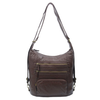 The Lisa Convertible Backpack Crossbody Purse Chocolate Brown
