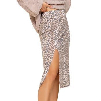 Leopard Print Knit Skirt side view