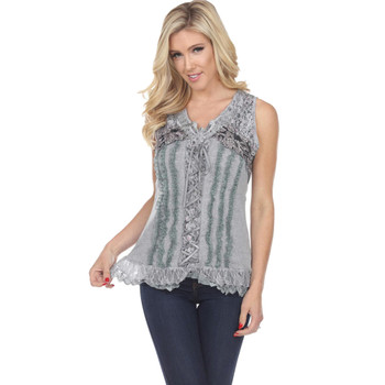 Gray Lace Up Corset Style Tank Top