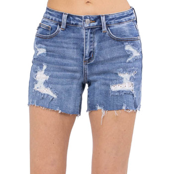 Judy Blue Lace Patch Destroyed Shorts