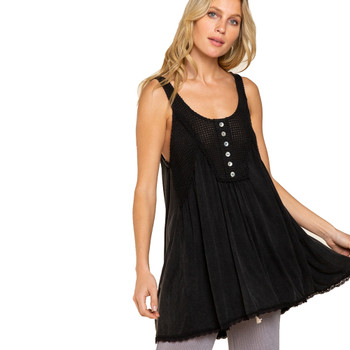 Black Flowy Baby Doll Knit Tank Top Cover Up