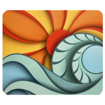 Abstract Ocean Waves Sun Mouse Pad Mat