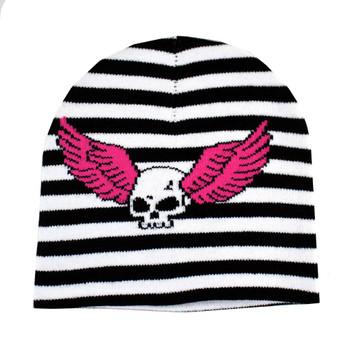 Skull Wings Black White Striped Beanie Knit Hat Punk Rock Snowboard Headgear