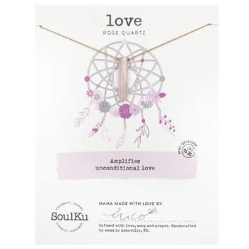 SoulKu Rose Quartz Point Necklace