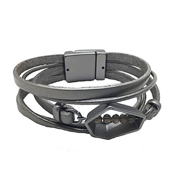 Dark gray leather bracelet with matte alloy polygon design in middle.