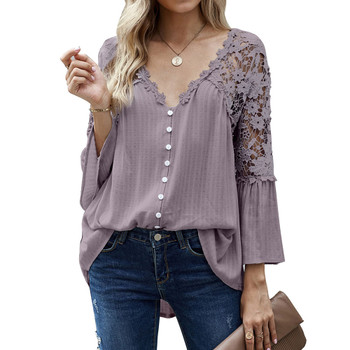 Boho Flowy Button Up Lace Detailed Top