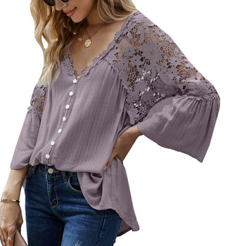 Boho Flowy Button Up Lace Detailed Top front view