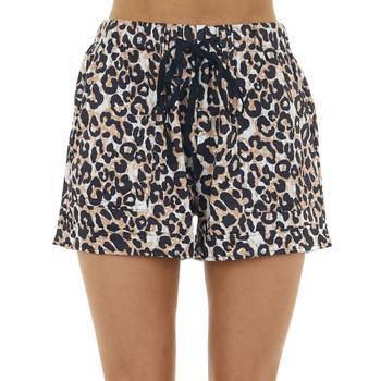 Leopard Print Drawstring Shorts with Pockets
