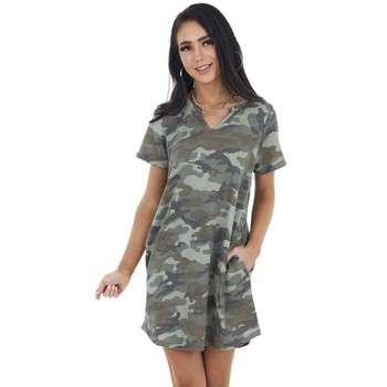 Green Camo Print Knit Tee Shirt Dress