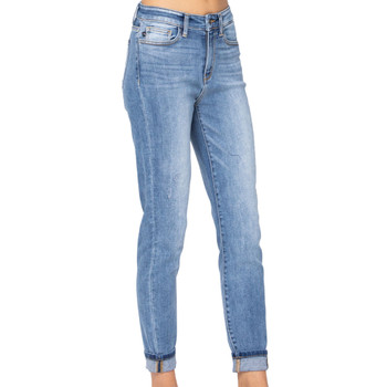 Judy Blue High Rise Cuff Slim Fit Jeans front view