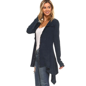 Urban X Mineral Washed Navy Blue Tunic Top Jacket side view