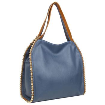 The Gracie Tote Blue Shoulder Bag Purse side view