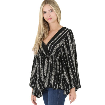 Angie Flowy Boho Bell Sleeve Top front view
