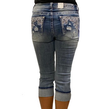 Grace In LA Western Embroidered Pocket Capri Jeans