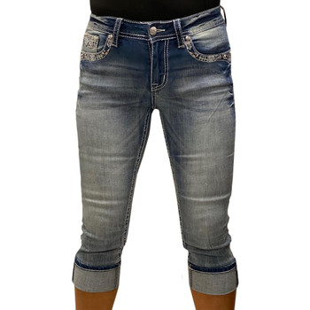 Grace In LA Western Embroidered Pocket Capri Jeans front view