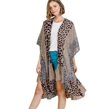 Animal Mixed Print Open Front Long Kimono Vest