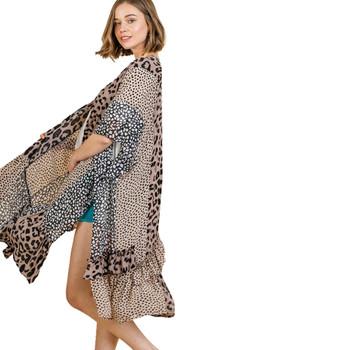 Animal Mixed Print Open Front Long Kimono Vest slit view