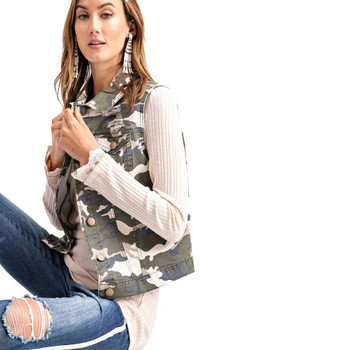 Camo Print Cropped Fit Vest front view