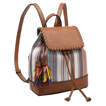 Two-Tone Backpack Purse front view
