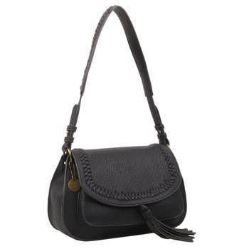 Black Saddle Shoulder Bag Purse front view