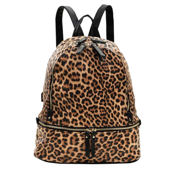 Leopard Two Tone Backpack Purse