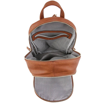 Inside View of Backpack Purse (Cognac Brown)