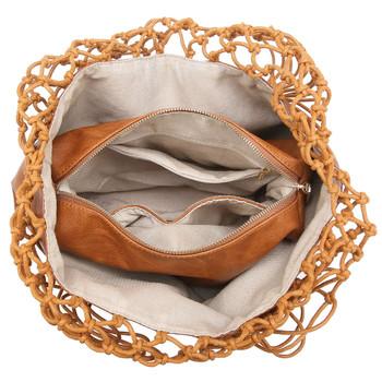 Cognac Brown Shoulder Bag Purse  inside view
