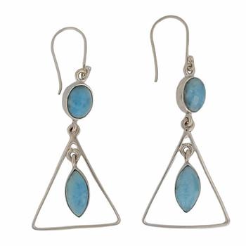 Sterling silver Larimar dangle earrings.