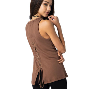 Vocal Apparel Brown Lace Up Back Tank Top back view