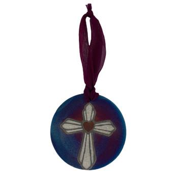 Cross Raku Ceramic Ornament