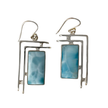 Larimar Gemstone Sterling Silver Earrings