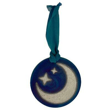 Crescent Moon Raku Ceramic Hanging Ornament