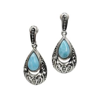 Larimar blue sterling silver earrings.