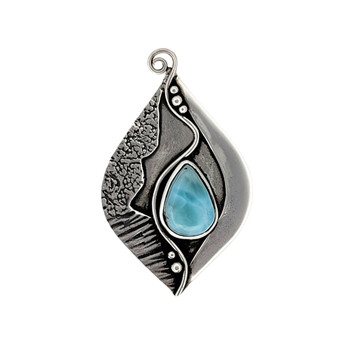 Large blue Larimar sterling silver pendant.