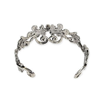 Backside silver floral heart design cuff bracelet.