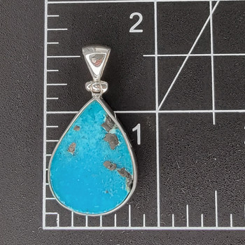 The size of the blue Turquoise sterling silver pendant.