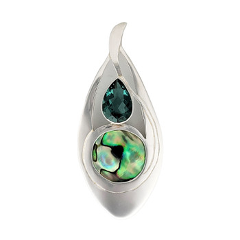 Green Quartz and Paua shell sterling silver pendant.