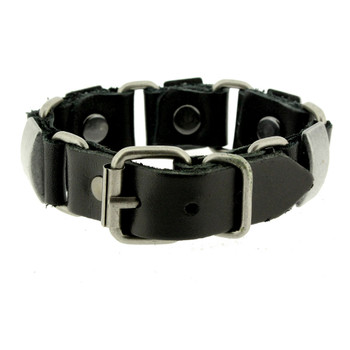 Leather and metal bracelet.