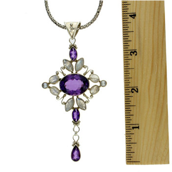 Amethyst, Moonstone & Pearl large sterling silver pendant.