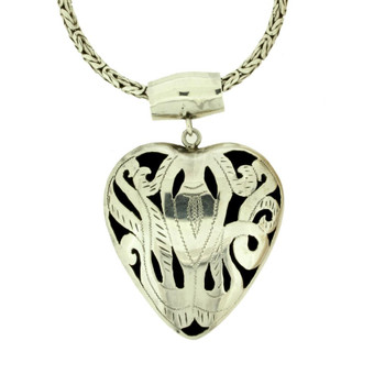 Puffy sterling silver heart from Bali.