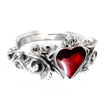 Betrothal Blood Red Heart Ring Alchemy Gothic Pewter Jewelry R134